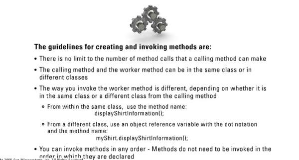 Guidelines for invoking methods